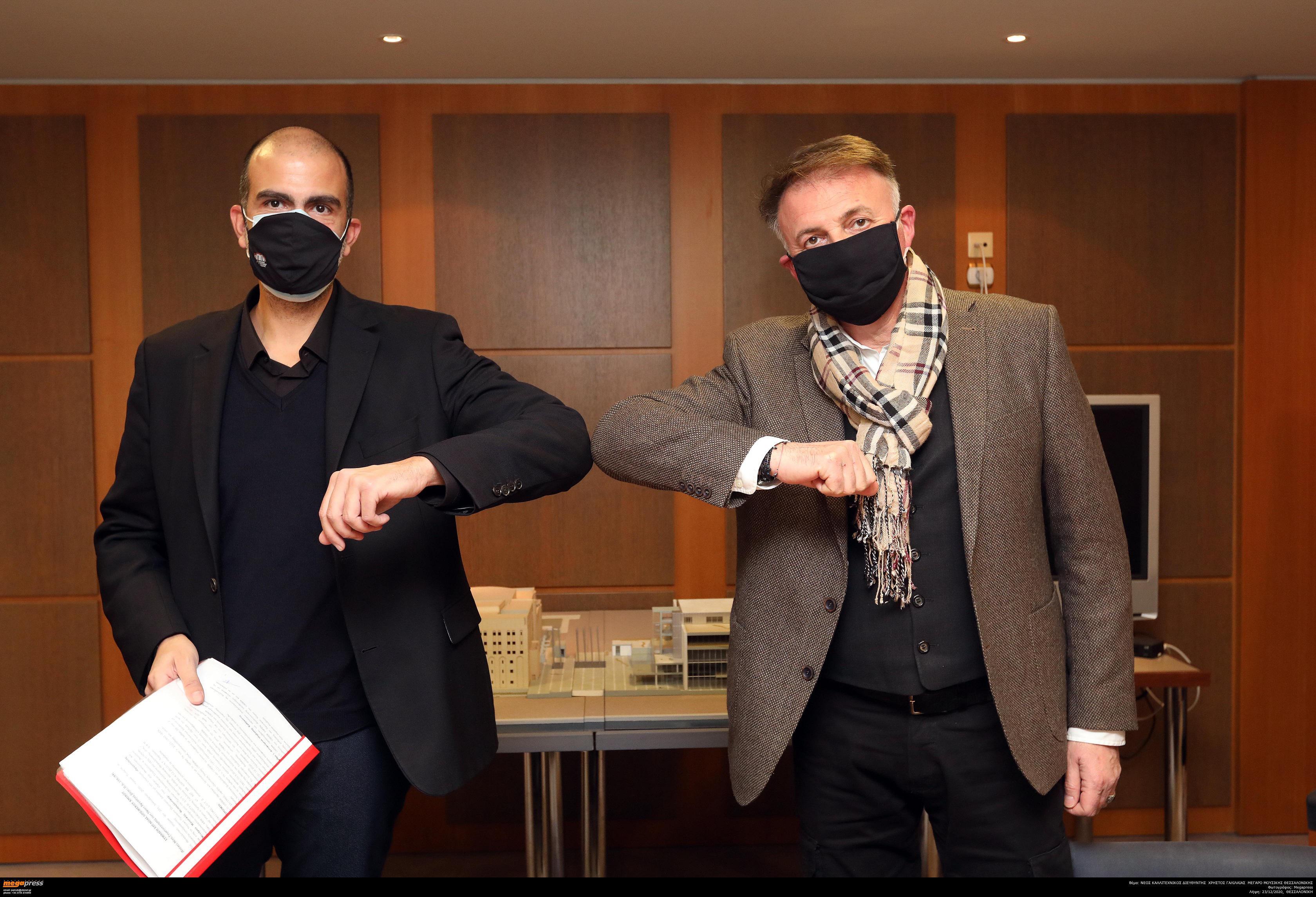 Ο νέος καλλιτεχνικός διευθυντής του Μεγάρου Μουσικής Θεσσαλονίκης Χρίστος Γαλιλαίας (αριστερά) και ο πρόεδρος του Δ.Σ. του ΟΜΜΘ Βασίλης Γάκης (δεξιά)
